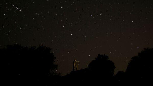 Звездное небо, наблюдаемое во время метеорного потока Персеиды близ Малаги, Испания - Sputnik International