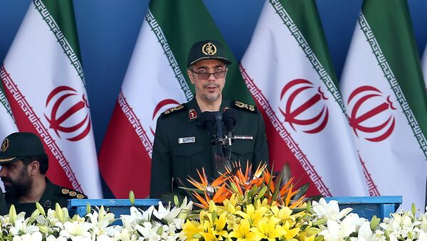 Chief of the General Staff of Iran's Armed Forces, General Mohammad Hossein Bagheri delivers a speech during a military parade marking the 36th anniversary of Iraq's 1980 invasion of Iran, in front of the shrine of late revolutionary founder Ayatollah Khomeini, just outside Tehran, Iran, Wednesday, Sept. 21, 2016 - Sputnik International