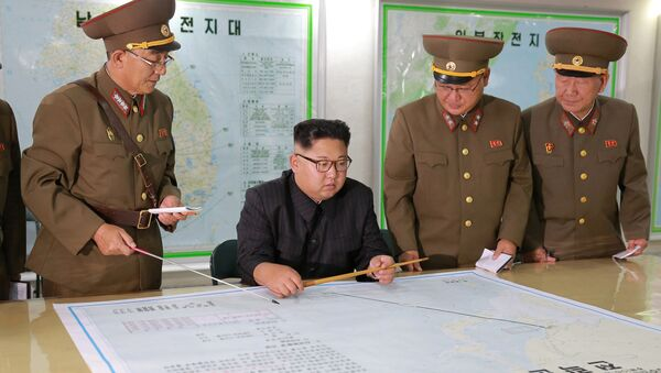 North Korean leader Kim Jong Un visits the Command of the Strategic Force of the Korean People's Army (KPA) in an unknown location in North Korea in this undated photo released by North Korea's Korean Central News Agency (KCNA) on August 15, 2017 - Sputnik International