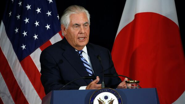 U.S. Secretary of State Rex Tillerson, with his Japanese counterparts, addresses a news conference after their U.S.-Japan Security talks at the State Department in Washington, U.S., August 17, 2017 - Sputnik International