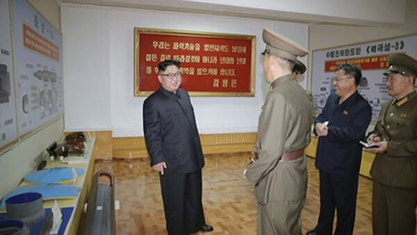In this image made from video of a news bulletin aired by North Korea's KRT on Wednesday, Aug. 23, 2017, leader Kim Jong Un visits the Chemical Material Institute of Academy of Defense Science at an undisclosed location in North Korea. North Korea's state media released photos that appear to show concept diagrams of the missiles hanging on a wall behind leader Kim Jong Un, one showing a diagram for a missile called Pukguksong-3. Independent journalists were not given access to cover the event depicted in this photo. - Sputnik International