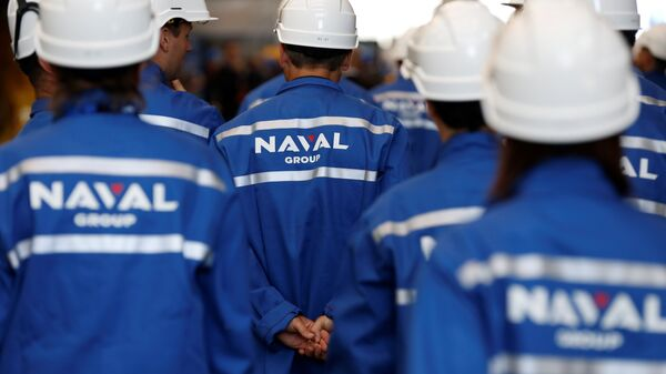 Workers of The Naval Group plant in Cherbourg-Octeville, north-western France on July 9, 2017 - Sputnik International
