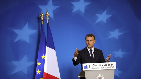 French President Emmanuel Macron speaks during a media conference at an EU summit in Brussels on Thursday, June 22, 2017 - Sputnik International