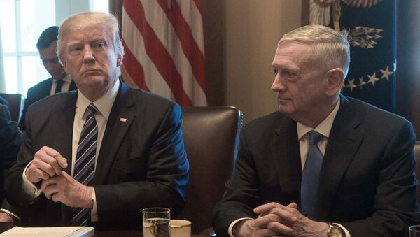 US President Donald Trump prepares to speak to the press before he meets with his cabinet in the Cabinet Room at the White House in Washington, DC, on March 13, 2017, as Defense Secretary James Mattis looks on - Sputnik International