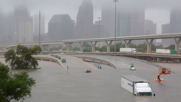 Interstate highway 45 is submerged from the effects of Hurricane Harvey seen during widespread flooding in Houston, Texas, U.S. - Sputnik International