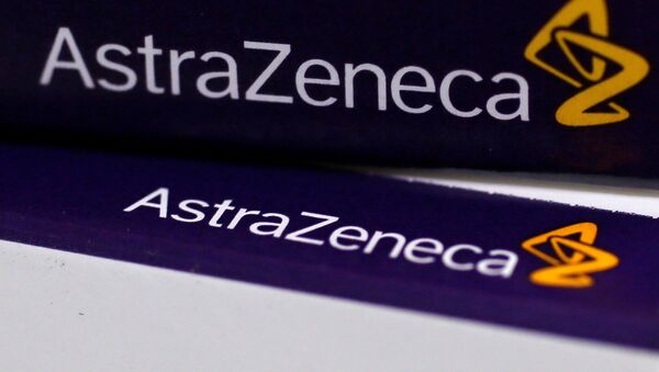 FILE PHOTO:The logo of AstraZeneca is seen on medication packages in a pharmacy in London. - Sputnik International