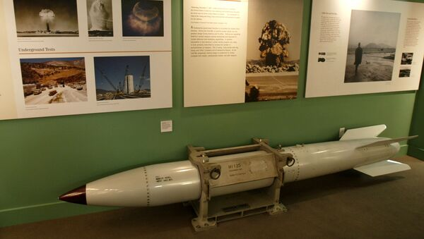 An empty B61 multipurpose thermonuclear tactical bomb is on display at the Atomic Testing Museum in Las Vegas. (File) - Sputnik International