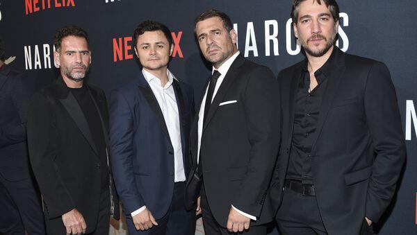 In this Aug. 21, 2017 photo, actors Francisco Denis, left, Arturo Castro, Pepe Rapazote and Alberto Ammann attend the Netflix series Narcos season three premiere at AMC Loews Lincoln Square, in New York. - Sputnik International