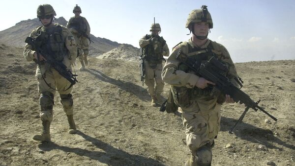 U.S. soldiers patrol the perimeter of a weapons cache four miles of the US military base in Bagram, Afghanistan (File) - Sputnik International