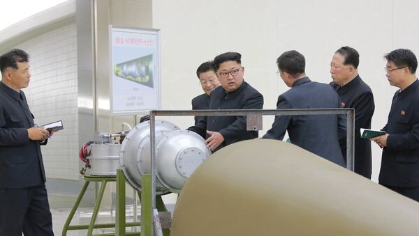 North Korean leader Kim Jong Un provides guidance on a nuclear weapons program in this undated photo released by North Korea's Korean Central News Agency (KCNA) in Pyongyang September 3, 2017 - Sputnik International