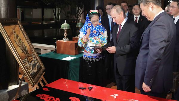 September 3, 2017. Russian President Vladimir Putin and Chinese President Xi Jinping at the exhibition of the Chinese cultural heritage in Xiamen - Sputnik International