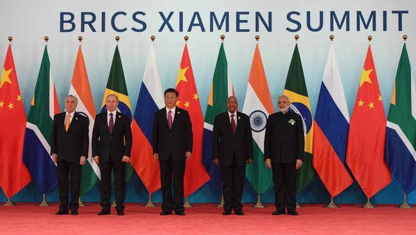 September 4, 2017. Russian President Vladimir Putin poses for a group photograph of the BRICS leaders. From right: Indian Prime Minister Narendra Modi, South African President Jacob Zuma and Chinese President Xi Jinping. Left: Brazilian President Michel Temer - Sputnik International