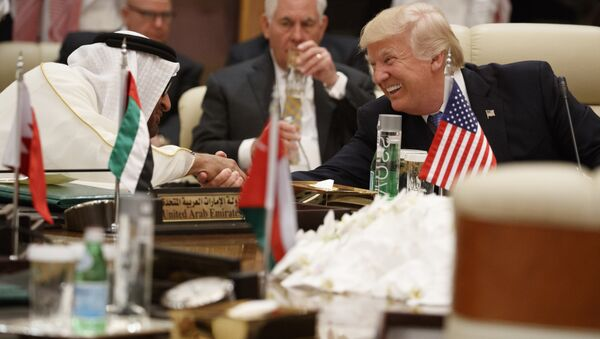US President Donald Trump shakes hands with Abu Dhabi's Crown Prince Mohammed bin Zayed Al Nahyan during a meeting with leaders at the Gulf Cooperation Council Summit, at the King Abdulaziz Conference Center, Sunday, May 21, 2017, in Riyadh, Saudi Arabia. - Sputnik International