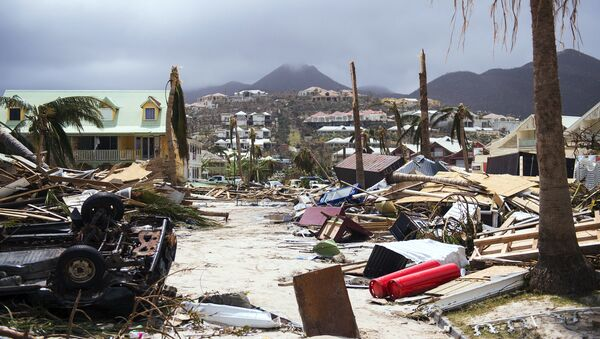 A photo taken on September 7, 2017 shows damage in Orient Bay on the French Carribean island of Saint-Martin, after the passage of Hurricane Irma - Sputnik International