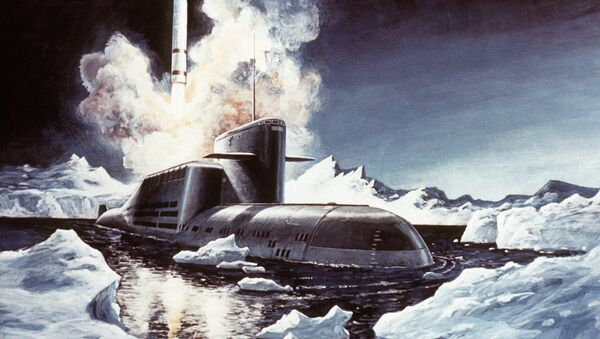 Artist's concept of a Soviet SS-NX-23 ballistic missile being launched from a Delta III-class nuclear-powered ballistic missile submarine - Sputnik International