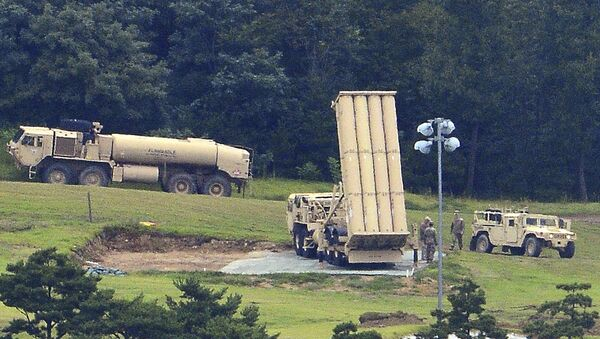 U.S. missile defense system called Terminal High Altitude Area Defense, or THAAD, is seen at a golf course in Seongju, South Korea, Wednesday, Sept. 6, 2017 - Sputnik International