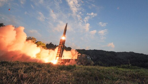 South Korean troops fire Hyunmoo Missile into the waters of the East Sea at a military exercise in South Korea September 4, 2017 - Sputnik International