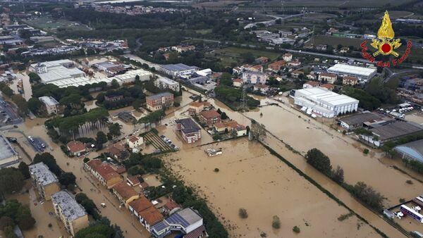 An aerial view of the city of Leghorn, Italy, following floods, Sunday, Sept. 10, 2017. - Sputnik International