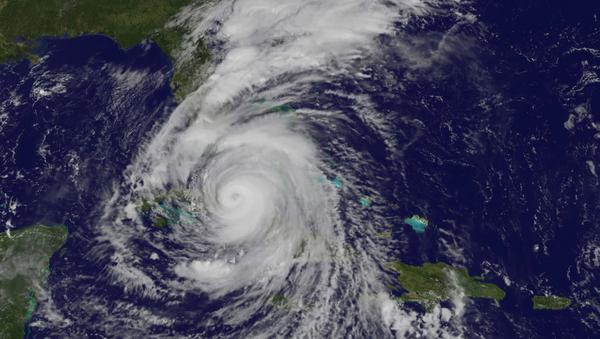 enormous Hurricane Irma strikes Florida seen from the International Space Station September 10, 2017 (NASA image) - Sputnik International