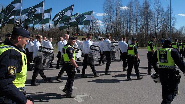 Nordic resistance movement NMR marscherar i Falun, Sweden - Sputnik International