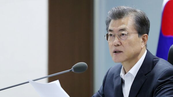 South Korean President Moon Jae-in presides over the National Security Council at the Presidential Blue House in Seoul, South Korea, September 15, 2017 - Sputnik International