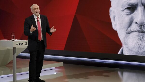 Labour leader Jeremy Corbyn, gestures. during a general election broadcast, in London, Monday May 29, 2017. Prime Minister Theresa May and Labour Party leader Jeremy Corbyn will face a live studio audience and a tough TV interviewer as the general election campaign moves to the airwaves. - Sputnik International