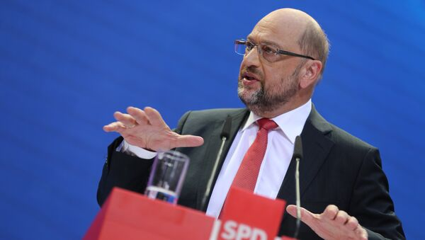 Social Demoratic Party top candidate for chancellor, Martin Schulz, speaks at the party's headquarters in Berlin, Germany, Monday, Sept. 25, 2017 one day after the parliament elections - Sputnik International