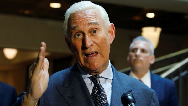 U.S. political consultant Roger Stone, a longtime ally of President Donald Trump, speaks to reporters after appearing before a closed House Intelligence Committee hearing investigating Russian interference in the 2016 U.S. presidential election at the U.S. Capitol in Washington, U.S., September 26, 2017. - Sputnik International
