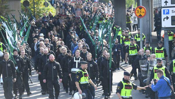 The Nordic Resistance Movement (NMR) march in central Gothenburg, Sweden September 30, 2017. - Sputnik International