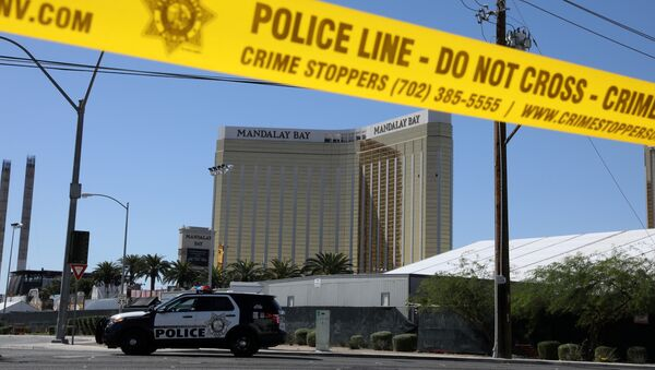 The site of the Route 91 music festival mass shooting is seen outside the Mandalay Bay Resort and Casino in Las Vegas, Nevada, U.S. October 2, 2017 - Sputnik International