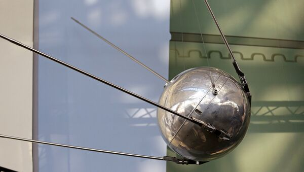 A Sputnik 1 test satellite, most likely manufactured by the Academy of Sciences of the USSR and one of only two known to exist, is displayed at the Museum of Flight, Monday, Oct. 2, 2017, in Seattle. Sixty years earlier, the Soviet Union launched Sputnik 1, the world's first artificial satellite, aboard an R-7 intercontinental ballistic missile on October 4, 1957. - Sputnik International