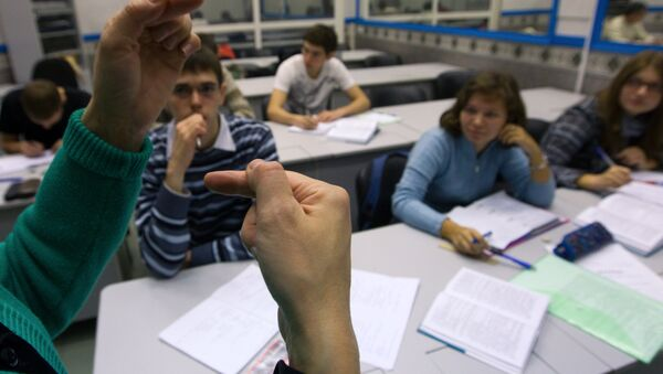 Hearing impaired students studying at the Bauman Moscow State Technical University (MSTU). (File) - Sputnik International