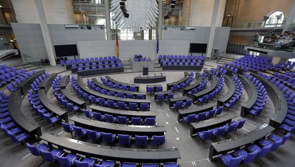Interior view of the plenar hall of the German Federal Parliament, Bundestag, at the Reichstag building in Berlin, Germany, Tuesday, Sept. 26, 2017.  - Sputnik International