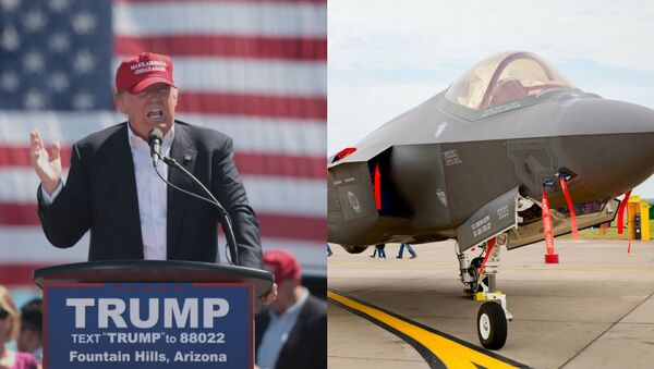 Donald Trump speaking at a campaign rally (photo by Gage Skidmore from WikiMedia Commons) juxtaposed with an F-35 Joint Strike Fighter. - Sputnik International