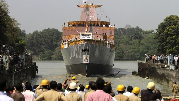 Indian cheer during the launch of Indian Navy's anti-submarine warfare corvette INS Kiltan on the Ganges river in Kolkata, India. (File) - Sputnik International