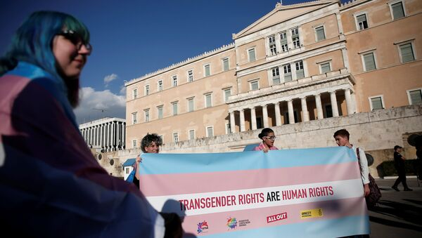 Protesters take part in a demonstration as the Greek Parliament debates bill allowing people to choose legal gender, in Athens, Greece, October 9, 2017. - Sputnik International