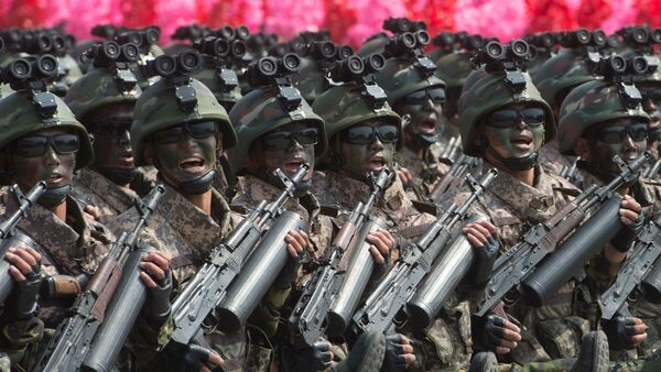 Soldiers during a military parade marking the 105th birthday of Kim Il-Sung, the founder of North Korea, in Pyongyang - Sputnik International
