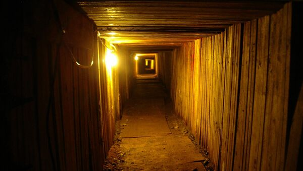 In this file photo provided on July 21, 2005 by British Columbia's Combined Forces Special Enforcement Unit, the interior of an elaborate, 350-foot drug-smuggling tunnel dug underneath the U.S.-Canadian border near Lynden, Wash. is shown - Sputnik International