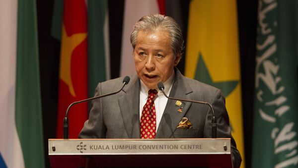 Malaysian Foreign Minister Anifah Aman speaks during the opening of an extraordinary session of the Organization of Islamic Cooperation foreign ministers on the situation of the Rohingya Muslim Minority in Myanmar at a conference center in Kuala Lumpur, Malaysia, Thursday, Jan. 19, 2017. - Sputnik International
