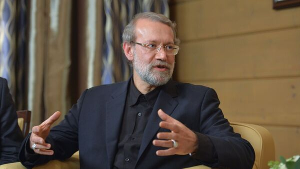 Speaker of the Islamic Consultative Council (parliament) of the Islamic Republic of Iran Ali Larijani during a meeting with Russian President Vladimir Putin following the 12th annual meeting of the Valdai International Discussion Club. File photo - Sputnik International