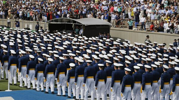 Graduating Air Force Academy cadets assemble in unison for their graduation ceremony for the class of 2015, at the U.S. Air Force Academy - Sputnik International