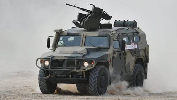 A Tigr armored vehicle carrying an Arbalet remote controlled weapon station during a show of modern and prospective weaponry at the Army 2017 International Military-Technical Forum, Moscow Region - Sputnik International