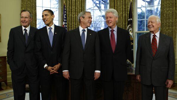 From left: Former US Presidents George H.W. Bush, Barack Obama, George W. Bush, Bill Clinton and Jimmy Carter at the White House in Washington, Jan. 7, 2009. - Sputnik International
