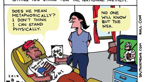Trump Anthem Petition Cartoon - Sputnik International