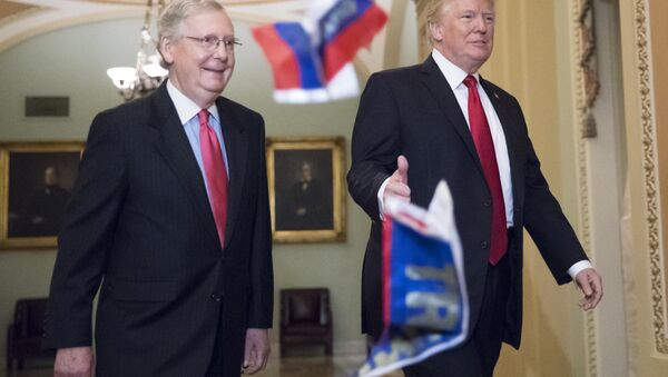 Small Russian flags bearing the word Trump are thrown by a protester toward President Donald Trump, as he walks with Senate Majority Leader Mitch McConnell, R-Ky., on Capitol Hill to have lunch with Senate Republicans and push for his tax reform agenda, in Washington, Tuesday, Oct. 24, 2017 - Sputnik International