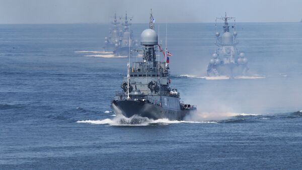 Baltic Fleet ships during the final rehearsal of the naval parade to mark Russian Navy Day. File photo - Sputnik International