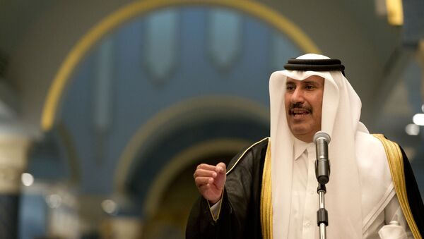 In this Tuesday, March 5, 2013 file photo, former Qatari Prime Minister and Foreign Minister Sheik Hamad bin Jassim Al Thani speaks during a news conference with US Secretary of State John Kerry, at Wajbah Palace, in Doha, Qatar. - Sputnik International
