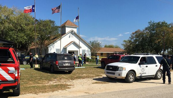 Emergency personnel respond to a fatal shooting at a Baptist church in Sutherland Springs, Texas, Sunday, Nov. 5, 2017. ( - Sputnik International