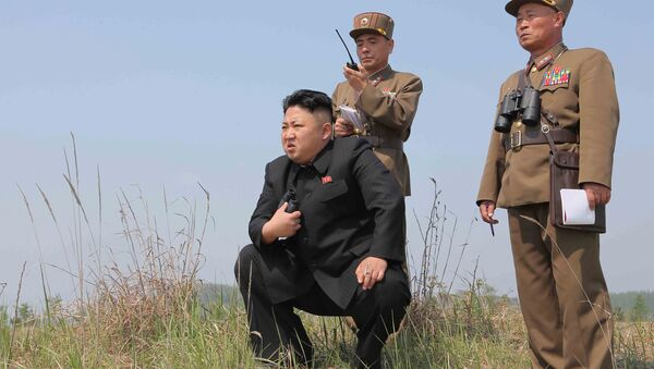 North Korean leader Kim Jong Un (C) guides the multiple-rocket launching drill of women's sub-units under KPA Unit 851, in this undated photo released by North Korea's Korean Central News Agency (KCNA) April 24, 2014 - Sputnik International