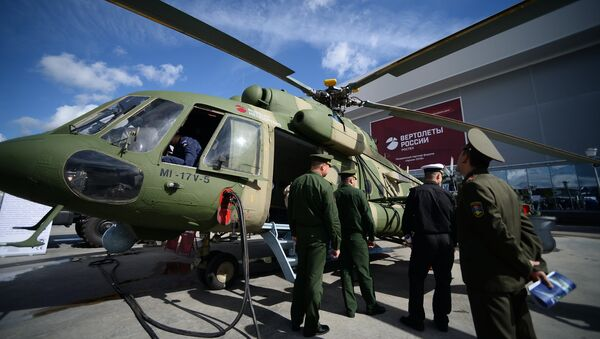 A Mi-17V-5 multipurpose helicopter displayed during the international military-technical forum ARMY-2016 at the Patriot Congress and Exhibition Center in the Military Patriotic Park of Culture and Recreation of the Russian Armed Forces, near Moscow - Sputnik International